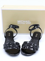 NIB Michael Kors Lexie Black Patent Leather Glitter Star Ankle Strap San... - $69.00