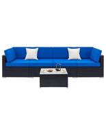 Fully Equipped Weaving Rattan Sofa Set with 2pcs Corner Sofas & 4pcs Sin... - £92.53 GBP