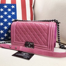AUTHENTIC CHANEL PINK QUILTED GLAZED CALFSKIN MEDIUM BOY FLAP BAG RHW image 9