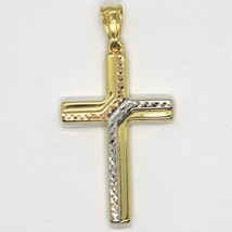 Cross Pendant Gold Yellow White Pink 750 18k, finely worked, Hammered image 2