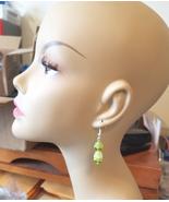 green bead drop flower dangles earrings acrylic glass handmade jewelry - $2.99