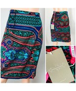 Anthropologie- Plenty by Tracy Reese Pencil Skirt Size 10 Blue Graphic S... - $54.45
