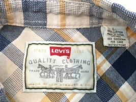 Levis Mens L Blue Yellow Plaid Hiking Camp Lightweight Cotton Flannel Shirt image 9
