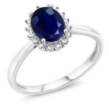 10K White Gold Fine Jewelry 1.79 Ct Oval Natural Blue Sapphire Diamonds ... - $253.43