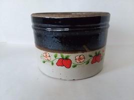 """Brown Beige Stoneware Crock Strawberry Decoration 5"""" x 7"""" - $29.69"""