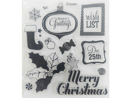 Season's Greetings Clear Stamp Set with Icons and Sentiments