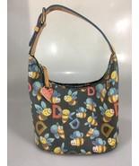 Dooney & Bourke Bumble Bee Black Coated Canvas Leather Shoulder Bag Rain... - $83.30