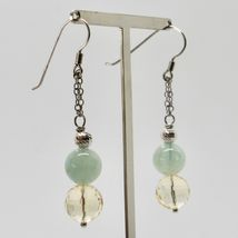 Silver Earrings 925 Rhodium Hanging with Quartz Citrine Aquamarine Green image 4