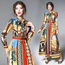 Spring ladies temperament Long-sleeved lace collar  fashion printed dress - $79.00