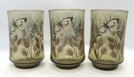 Libbey Butterfly & Wheat Set of 3 Juice Glasses Smoky Glass Vintage Butterflies - $6.52