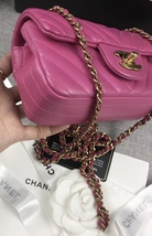 AUTHENTIC CHANEL PINK CHEVRON LAMBSKIN MINI RECTANGULAR FLAP BAG GHW image 3