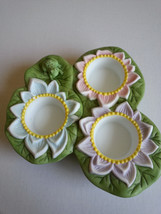 Pond Lily Pad Three Tealight Candle Holder With Frog & Flowers Partylite... - $15.59