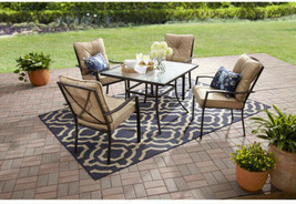 5-Piece Patio Dining Table Set 4 Chairs Metal Frame Tan Cushions Glass T... - $284.97