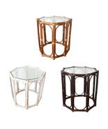 Rattan Coffee Table Small model Trudi 3 Colors with Glass Top - $90.08+