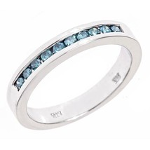 Women's Wedding Ring 0.40 ct Blue Fancy Color Diamond Channel Set 14k Wh... - £337.05 GBP