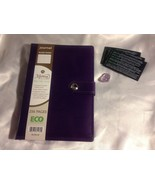 Leather Journal + AMETHYST Tumbled Stone INNER PEACE / PROTECTION - $15.00