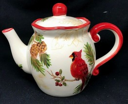 "Maxcera Festive Folks RED CARDINAL BIRD & PINE CONE Teapot NEW w/ Tags 8""H - $44.99"