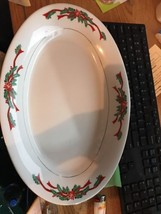 """Poinsetta & Ribbons 14"""" Serving Platter Victorian Holiday By Baum Brothers - $36.62"""