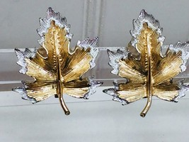 Vintage Sarah Coventry Gold Silver Leaf Clip On Earrings  Natures Choice 24274 - $7.99