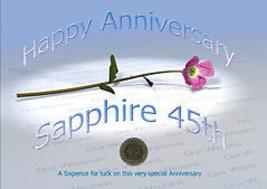 Sixpence Pour Chance 45ème Sapphire Mariage Anniversaire Crd 45ème Anniv... - $11.71