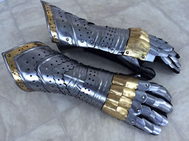 Gauntlet Gloves Armor Pair With Brass Accents Medieval Knight Crusader S... - $77.99