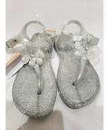 NEW Gymboree Silver Glitter Sparkle Jelly Sandals Size 2-3 - $21.99