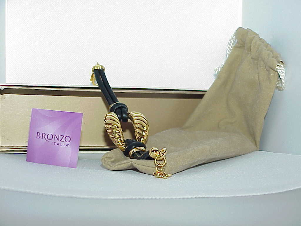 QVC Bronzo Milor Yellow Gold Twist Black Leather Bracelet 8 Box Pouch Card New