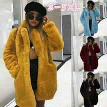 New Women Winter Faux Fur Coat Parka Casual Fluffy Long Sleeve Overcoat Jacket