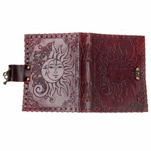 """Sun and Moon Leather Journal 5x7"""" Unlined Handmade Blank Book w/ Latch #... - $54.17"""