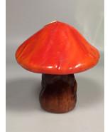 Vintage Mid Century Orange and brown Mushrooms Wax Candle retro decor prop - $15.71
