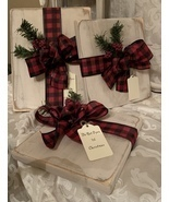 Set of 3 Rustic Wood Christmas Presents  Handmade Farmhouse Decor Buffal... - $29.99