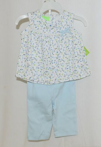 SnoPea Two Piece Flowered Sleeveless Shirt Light Blue Pants Size 9 months