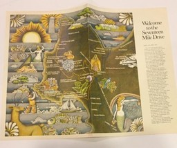 Vtg Seventeen Mile Drive Brochure Pictorial Map Cartoon Points Of Interest  - $9.48
