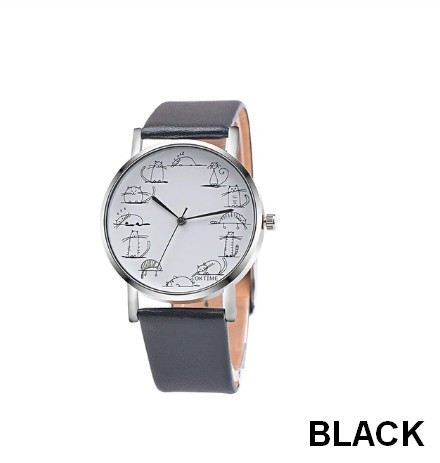 Round Lovely Cartoon Cat Watches Leather Strap Women Casual Wristwatch image 6