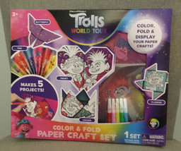 Trolls World Tour Color & Fold Paper Craft Set Makes 5 Projects. NIB Ages3+ - $10.99