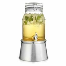 Classic Beverage Drink Dispenser Durable Glass Lock Top Lid on Galvanize... - $34.64