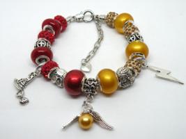 Golden Snitch European Murano Beaded Bracelet. Gift bag included - $19.95
