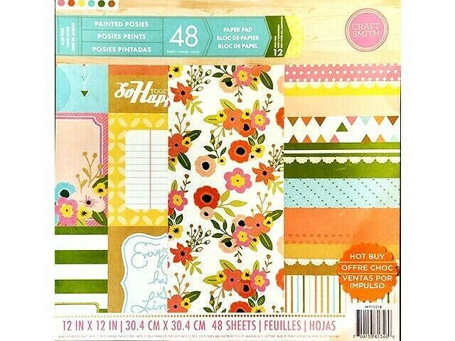 """Craft Smith Painted Posies 12x12"""" Cardstock Paper Pad #MPP0018"""