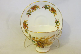 Vintage English Bone China Fall Leaves Pattern Cup & Saucer - Royal Vale... - $21.99