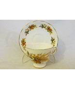 Vintage English Bone China Fall Leaves Pattern Cup & Saucer - Royal Vale... - £17.11 GBP