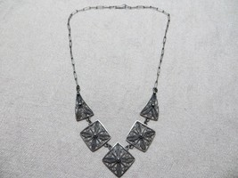 Antique Victorian Grand Tour 830 Silver Italian Filigree Links Choker necklace  - $79.99
