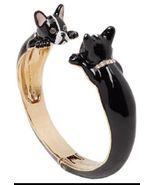 KATE SPADE Ma Chérie Antoine French Bulldog Hinged Cuff Bracelet w/ KS D... - $46.99