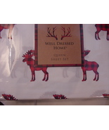 Well Dressed Home Black Red Moose on White Microfiber Sheet Set Queen - $55.00