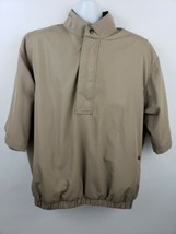 FootJoy Dryjoys Golf Jacket 1/2 Zip Windbreaker Mens M Short Sleeve Beige  - $37.61