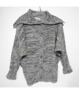 Wow Couture Gray Marled Small Dolman Sleeve 8 Buttons Shawl Collar Knit ... - $15.55