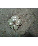 VINTAGE GOLDEN PIN BROOCH FAUX PEARL CENTER PAVE ENAMELLED OFF WHITE FLOWER - $15.00