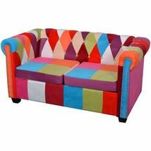 vidaXL Chesterfield 2-seater Sofa Set Multicolor Fabric Couch Home Seating - $279.99