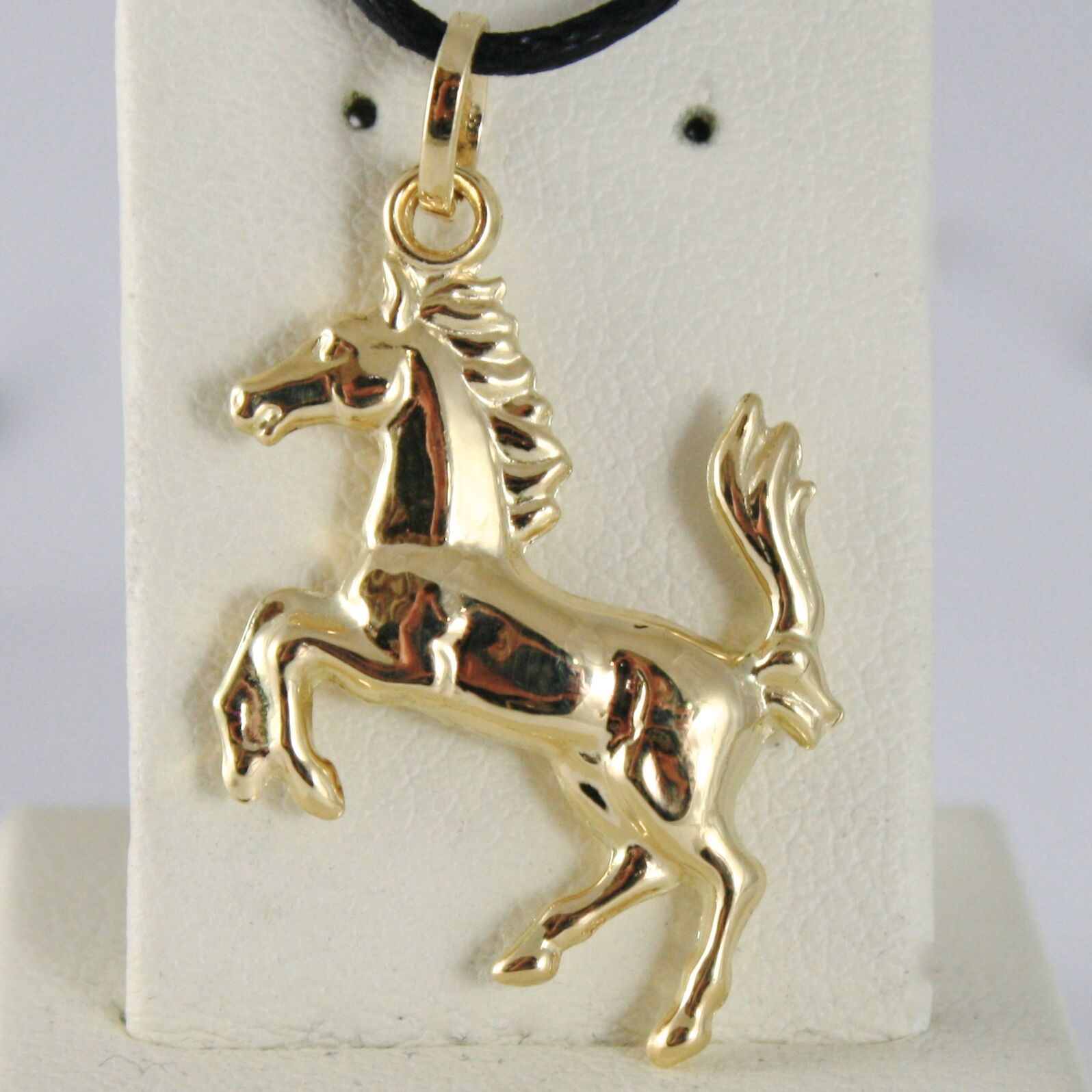 Yellow Gold Pendant Or White 750 18K, Horse Convex, Pony