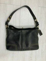 Vintage Coach Purse Black Pebbled Leather Contrast Stitching Turnlock Sm... - £37.89 GBP