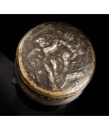 Apollo SILVER CHERUB 19th century Footed vanity box - footed relief ange... - $65.00